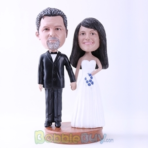 Picture of Black Suit Groom & White Dressed Bride Wedding Bobblehead