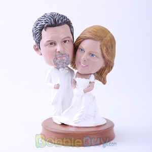 Picture of Bride and Groom in Pure White Bobblehead