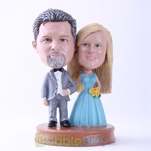 Picture of Gray Suit Groom and Blue Dressed Bride Bobblehead