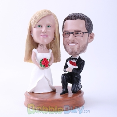 Picture of Groom Down on One Knee to Propose Bobblehead