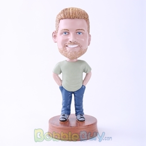 Picture of Casual Man Hands in Pockets Bobblehead
