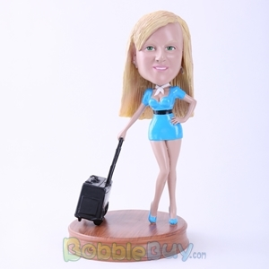 Picture of Flight Attendant in Blue Uniform Bobblehead