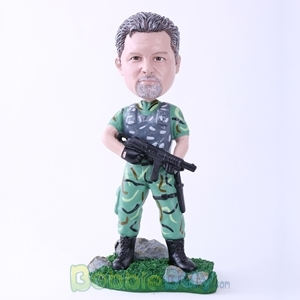 Picture of Male Soldier Holding Machine Gun Bobblehead