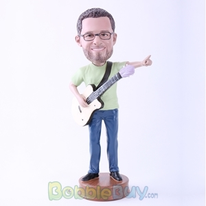 Picture of Man Happily Playing Guitar Bobblehead