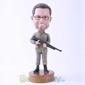 Picture of Man Holding Rifle Bobblehead