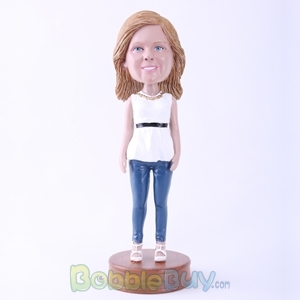 Picture of White Clothes Casual Woman Bobblehead