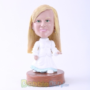 Picture of White Dressed Little Girl Bobblehead