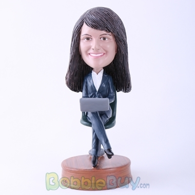 Picture of Woman in Chair with Laptop Bobblehead