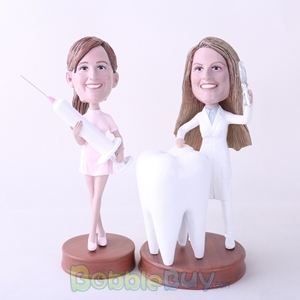 Picture of Female Dentist & Nurse Bobblehead