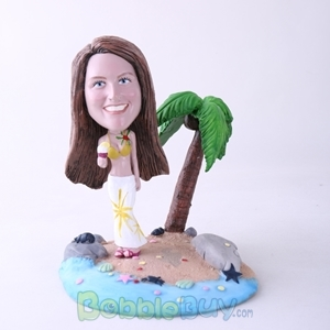 Picture of Casual Woman Holding Ice Cream On Beach Bobblehead