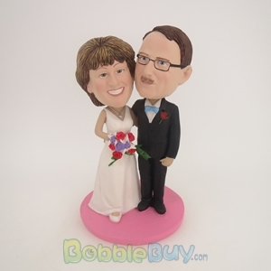 Picture of Black Suit & White Wedding Dress Arm Behind Each Other Couple Bobblehead