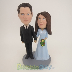 Picture of Black Suit Groom Hand In Hand Couple Bobblehead