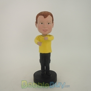 Picture of Boy In Yellow With Holding Gesture Bobblehead