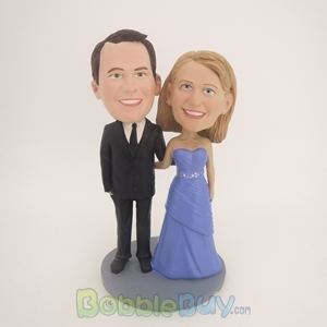 Picture of Black Suit Man and Purple Dress Woman Bobblehead