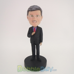 Picture of Business Man Holding Tie Bobblehead