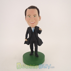 Picture of Business Man In Black Coat Bobblehead