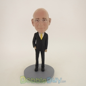 Picture of Business Man In Black Suit And Yellow Tie Bobblehead