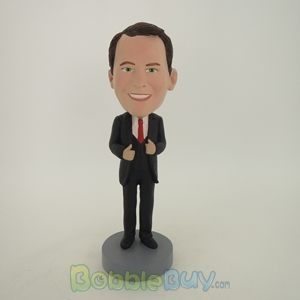 Picture of Business Man In Nice Suit And Red Tie Bobblehead