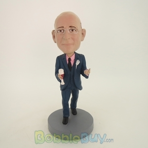 Picture of Business Man With Red Wine Bobblehead