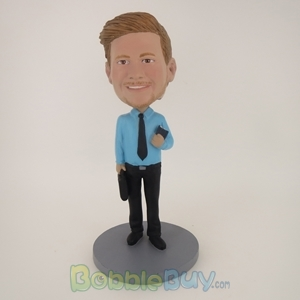 Picture of Business Man With Something In Both Hands Bobblehead