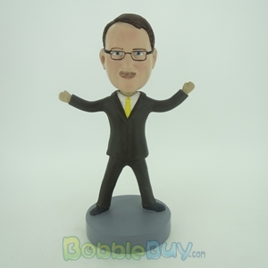 Picture of Business Man With Yellow Tie Standing Out Bobblehead
