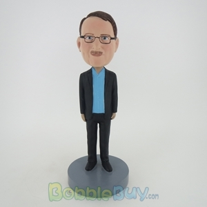 Picture of Casual Man In Black Jacket And Inner Blue TShirt Bobblehead