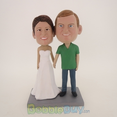 Picture of Hand In Hand White Dress Bride Couple Bobblehead