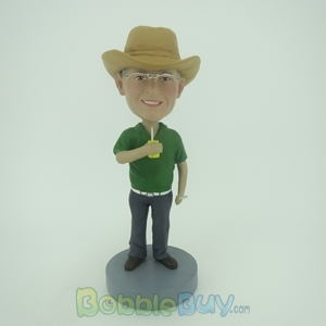 Picture of Casual Man in Green Bobblehead
