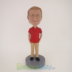 Picture of Casual Man In Red And Brown Bobblehead