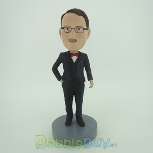 Picture of Groomsman In Black Suit & Red Bow Bobblehead