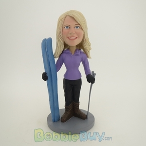 Picture of Standing Skiing Woman Bobblehead