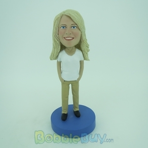Picture of White Short Sleeve Woman Bobblehead