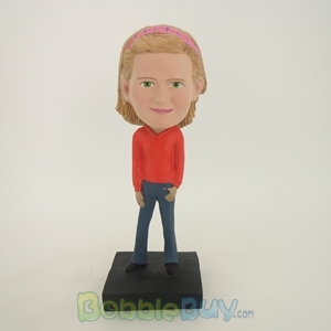 Picture of Lovely Girl In Orange Dress Bobblehead