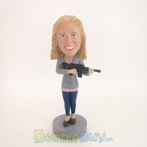 Picture of Woman with Machine Gun Bobblehead