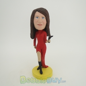 Picture of Woman with Handgun Bobblehead