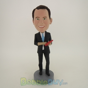 Picture of Business Man Holding Calculator Bobblehead