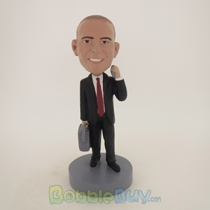 Picture of Business Man With Phone And Suitcase Bobblehead
