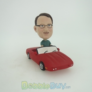 Picture of Man Driving In Red Car Bobblehead