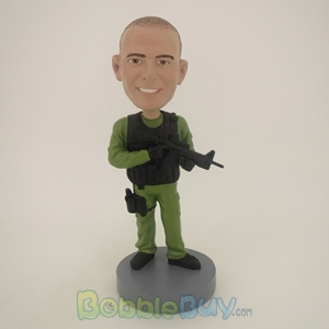 Picture of Man With Gun & Walkie Talkie Bobblehead
